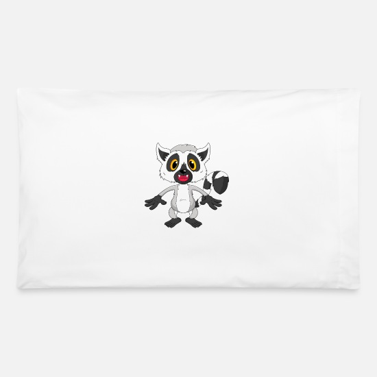 Madagascar Pillow Cases - Lemur Monkey Macis Vari Funny Madagascar Gift Cute - Pillowcase 32'' x 20'' white