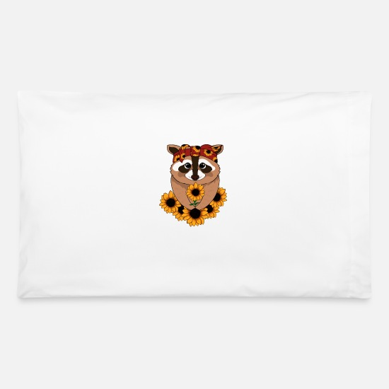 Stylish Pillow Cases - Raccoon Bandana Funny Animal Sunflowers - Pillowcase 32'' x 20'' white