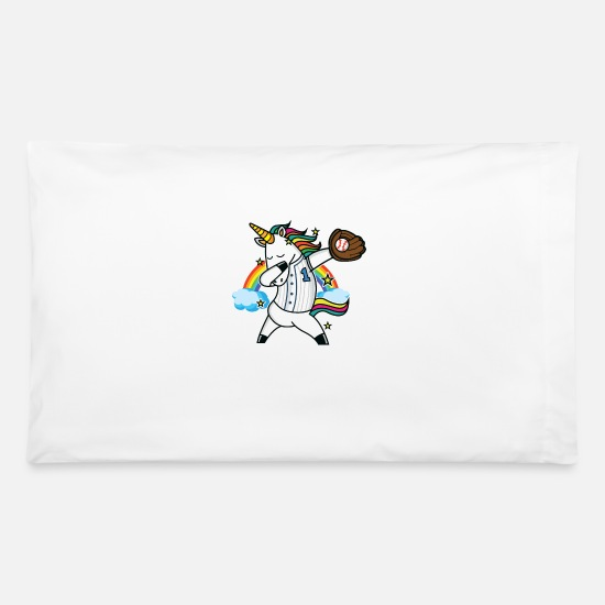 Unicorn Pillow Cases - Unicorn Baseball Rainbow Baseball Lover - Pillowcase 32'' x 20'' white