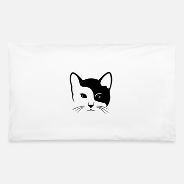 Stencil Cute Cat Head - black and white - Pillowcase 32'' x 20''