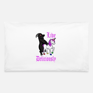 Devil Horns Live Deliciously - The Goat And The Unicorn - Pillowcase 32'' x 20''