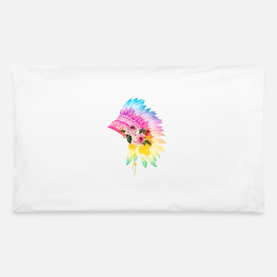 Headdress Pillow Cases - Floral Headdress - Pillowcase 32'' x 20'' white