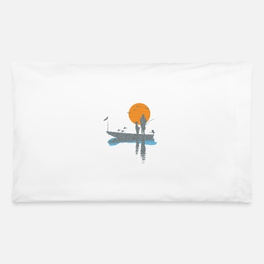Air Boat T-shirt fisherman in boat with bird and fish - Pillowcase 32'' x 20''