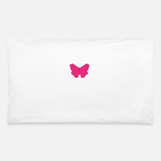 Pink Pillow Cases - butterfly origami - Pillowcase 32'' x 20'' white