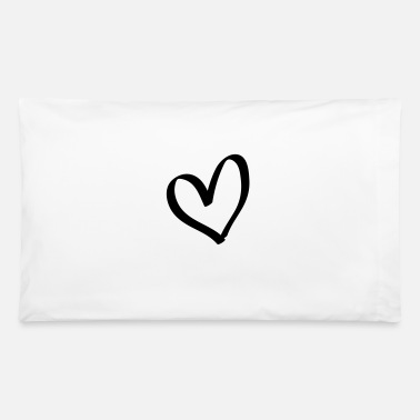 Lovely Hand drawn comic heart -love lover girlfriend cute - Pillowcase 32'' x 20''