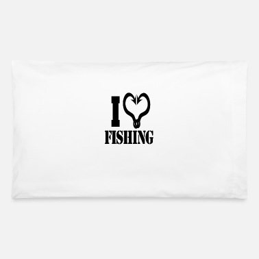 I Heart I heart fishing black - Pillowcase