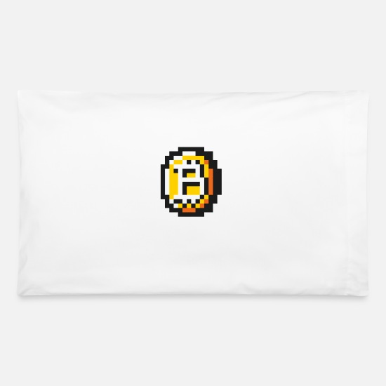 Game Pillow Cases - 8 bit Coin - Pillowcase 32'' x 20'' white