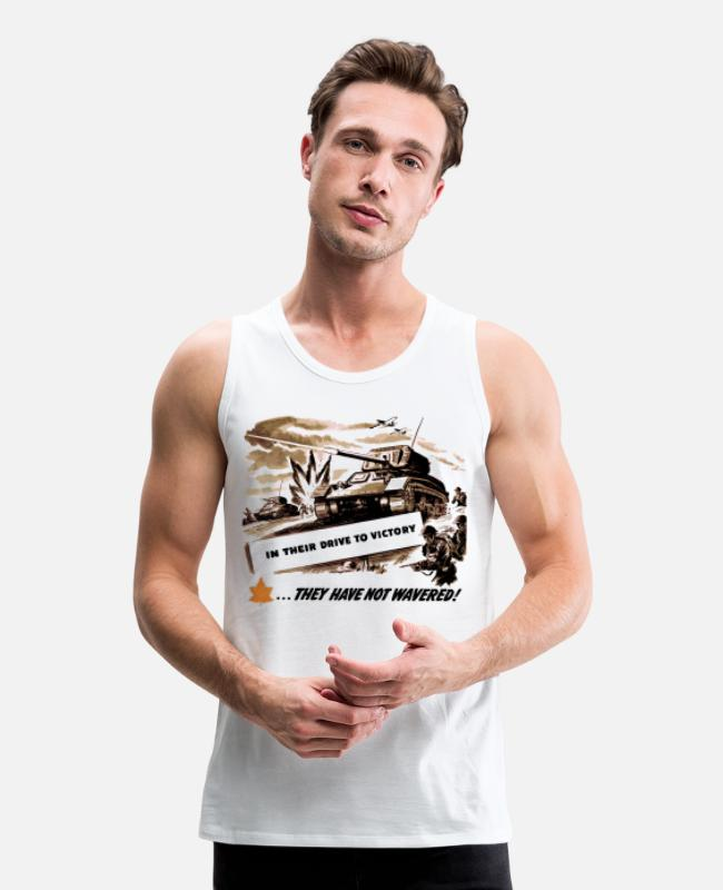 Infantry Tank Tops - Drive To Victory WW2 Attack - Men's Premium Tank Top white
