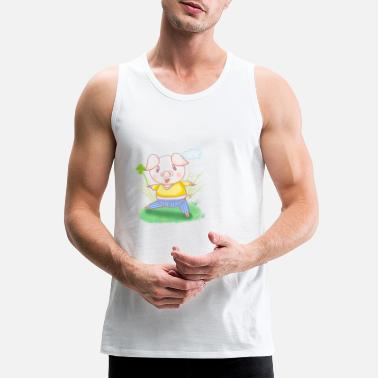 Four Leaf Clover A piggy with four-leaf clover - Men's Premium Tank