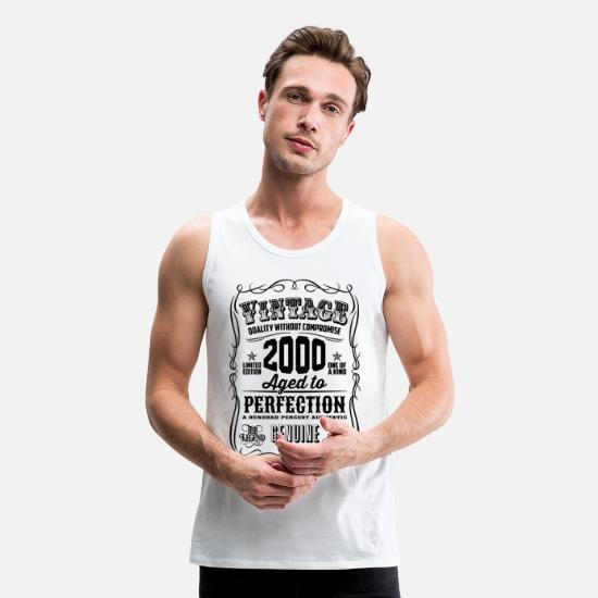 Sweet Tank Tops - Vintage 2000 Aged to Perfection Black Print - Men's Premium Tank Top white