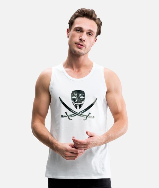 Anon Tank Tops - Digital Pirates - Men's Premium Tank Top white