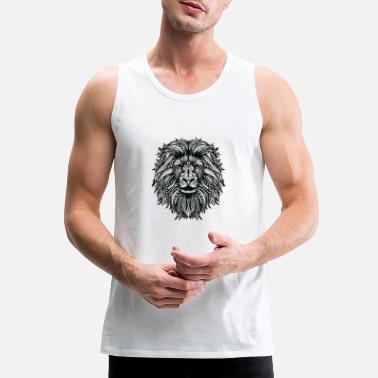 c7a707ed957990 Mandala lion - Black and white - Men  39 s Premium Tank Top. Men s Premium Tank  Top
