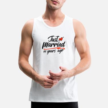 Gold Just Married 44 Year Ago Funny Wedding - Men's Premium Tank Top