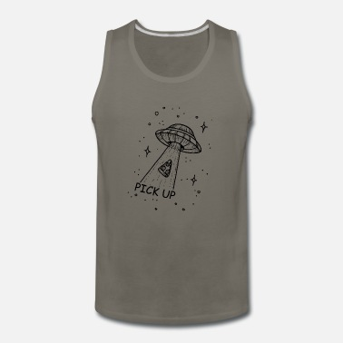 Pizza pick up black Ufo Aliens - Men's Premium Tank Top