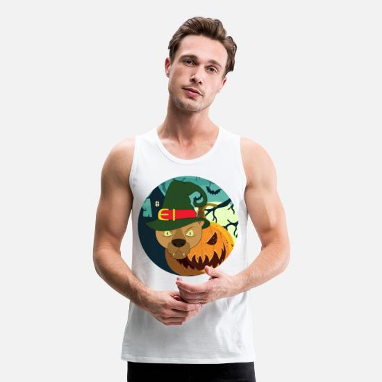 Cartoon Tank Tops - pirate halloween animals - Men's Premium Tank Top white