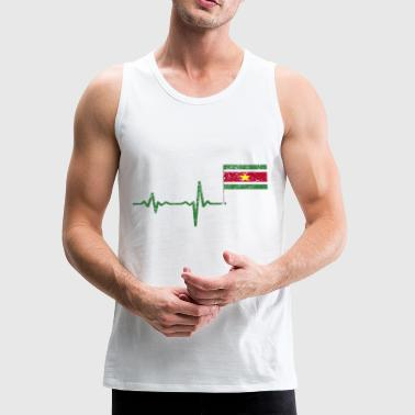 Heartbeat Surinam flag gift - Men's Premium Tank