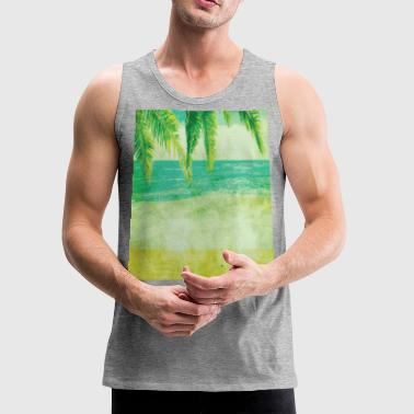 VINTAGE BEACH PALM TREES Pop Art - Men's Premium Tank