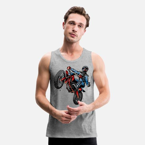 Dirt Tank Tops - Motocross Dirt Bike Stunt Rider - Men's Premium Tank Top heather gray