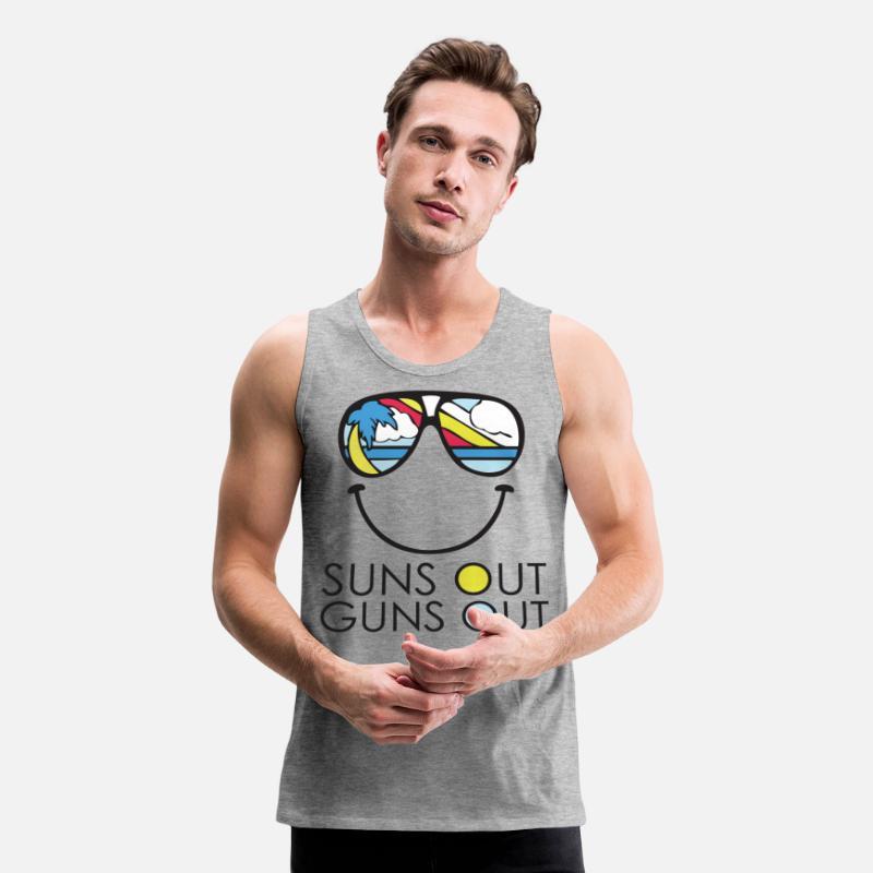 a838c5c4966 Funny Tank Tops - Suns Out Guns Out T Shirt - Men s Premium Tank Top heather
