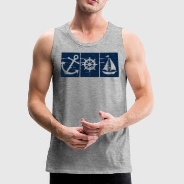 Anchor Boat Helm Wheel Sailboat - Men's Premium Tank