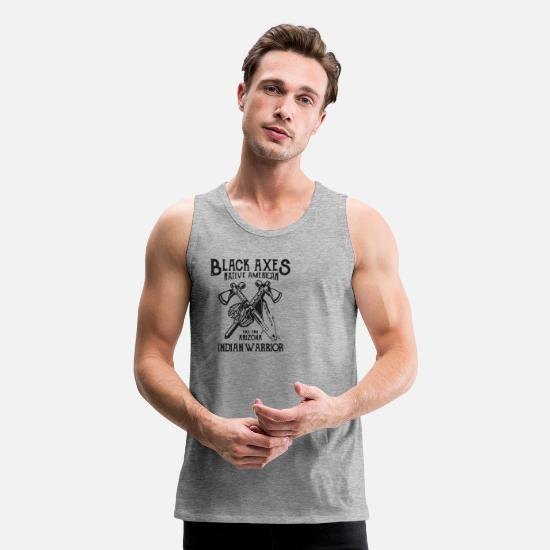 Mode Tank Tops - Black Axes Indian Warrior - Men's Premium Tank Top heather gray