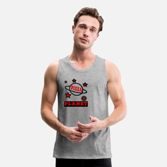 Planet Tank Tops - Funny pizza planet - Men's Premium Tank Top heather gray