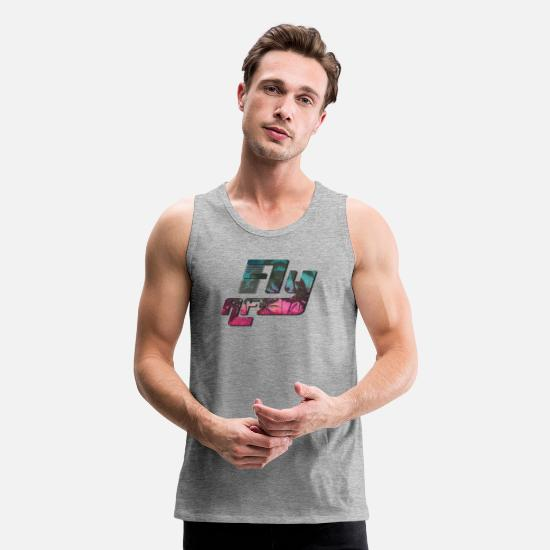 Tropical Tank Tops - Fly AF Palms - Men's Premium Tank Top heather gray