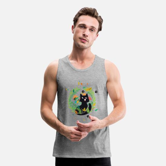 Floral Tank Tops - Cute Cat in Floral Garden and Paw Prints - Men's Premium Tank Top heather gray