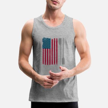 Us Rowing us rowing paddle flag tem boat university sport lo - Men's Premium Tank