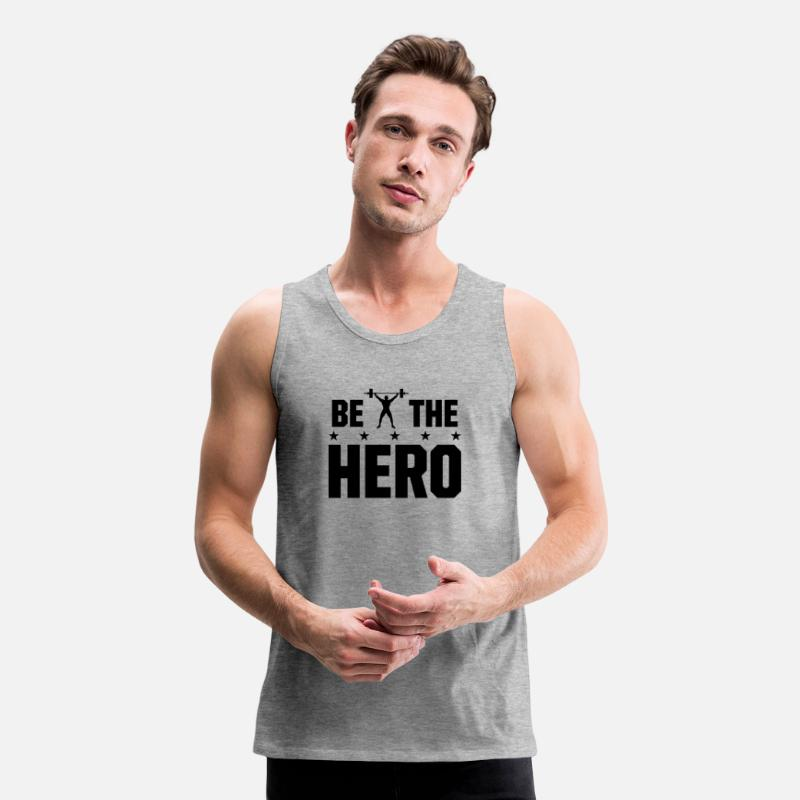 3ea5bfe5ce863e Weightlifting Tank Tops - Be the Hero - Weightlifting - Men s Premium Tank  Top heather gray