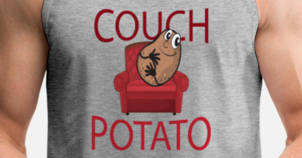 Funny Lazy Lounger Couch Potato Tater Couch Lazy Person Lazy Bones Gifts Men's Premium Tank Top | Spreadshirt
