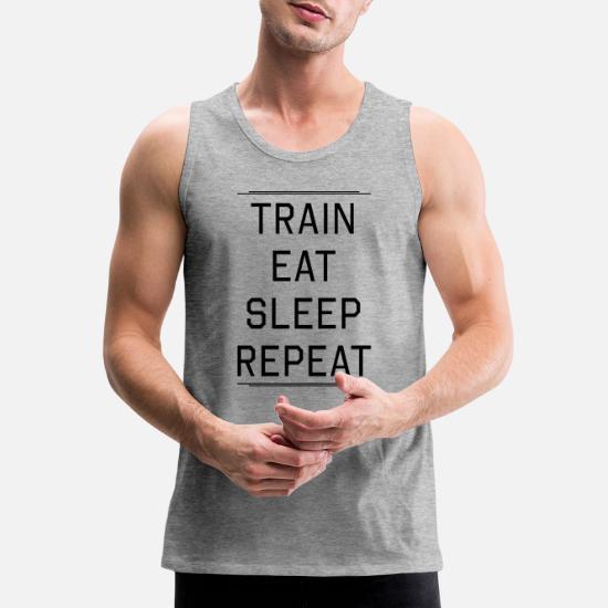 1fc8c266e4 ... Eat Sleep Repeat - Men's Premium Tank Top heather gray. Customize