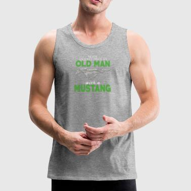 OLD MAN WITH A MUSTANG SHIRT - Men's Premium Tank