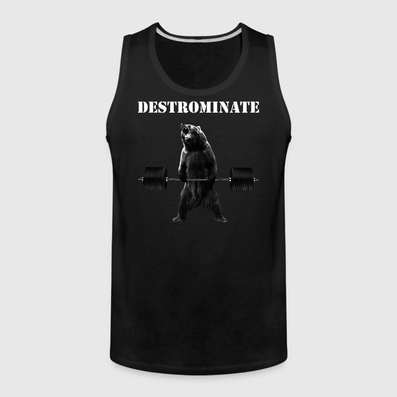 Destrominate - Deadlifting Bear - Men's Premium Tank
