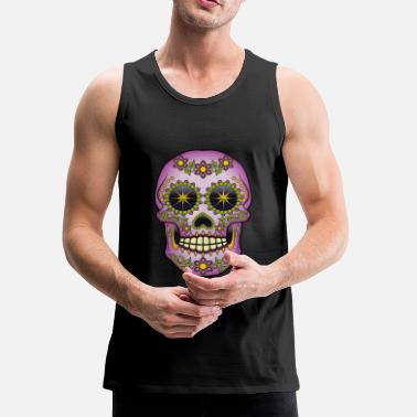 Skull Purple Floral Sugar Skull - Men's Premium Tank