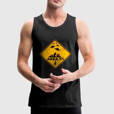 AREA 51 yellow warning road sign with UFOs. - Men's Premium Tank