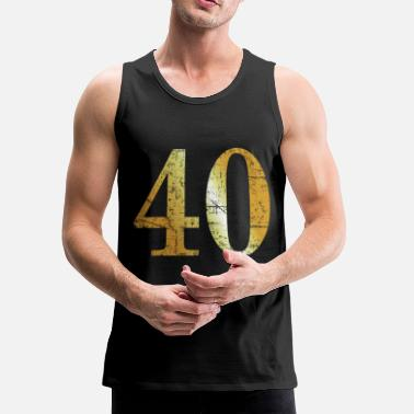 40th Birthday Number 40 - 40th Birthday Design (Ancient Gold) - Men's Premium Tank