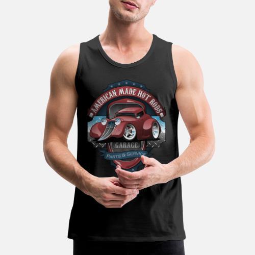 164417deadc51 American Hot Rods Garage Vintage Car Sign Cartoon Men s Premium Tank ...