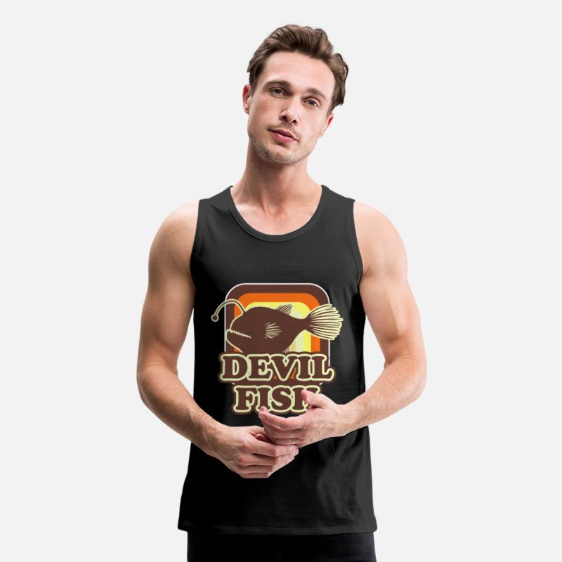 Fish Tank Tops - Devil Fish Animal Sea Monster Ocean Fishing Gift - Men's Premium Tank Top black