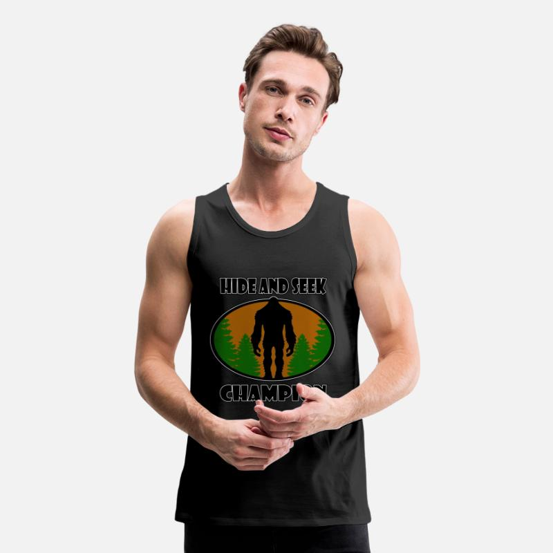Conspiracy Tank Tops - Bigfoot Hide and Seek World Champion - Men's Premium Tank Top black