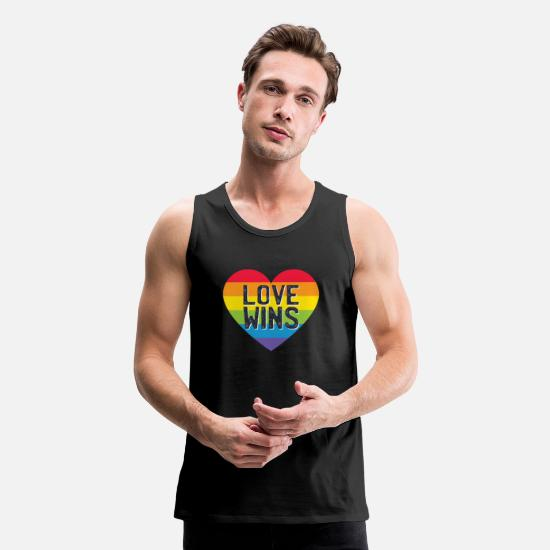Gay Pride Tank Tops - LGBT graphic Rainbow Heart - Parades - - Men's Premium Tank Top black