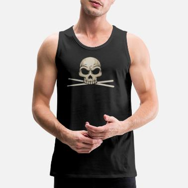 Skull Drummer Skull With Drum Sticks - Men's Premium Tank