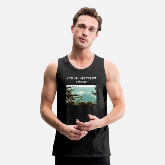 Synthwave Tank Tops - Funny Vaporwave meme design Turn Off Internet - Men's Premium Tank Top black