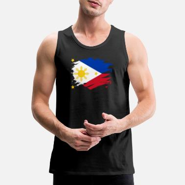 Filipino Philippines Paint Splatter Flag Filipino Pride Design - Men's Premium Tank