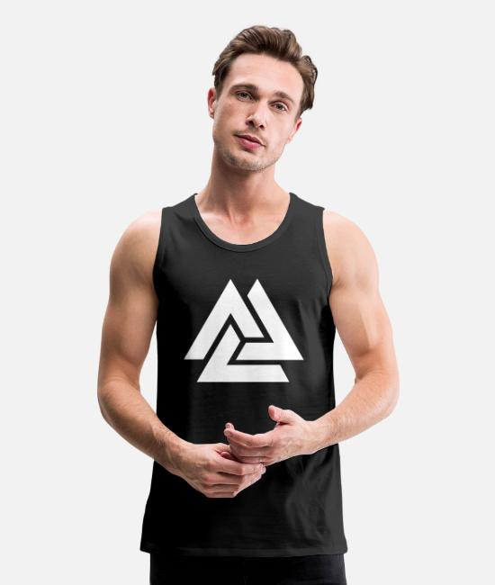 Viking Tank Tops - Valknut Odin Symbol Viking Nordic Triangle - Men's Premium Tank Top black