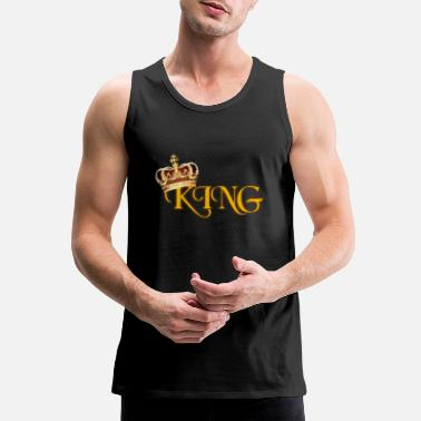 Gold GOLD KING CROWN WITH YELLOW LETTERING - Men's Premium Tank Top