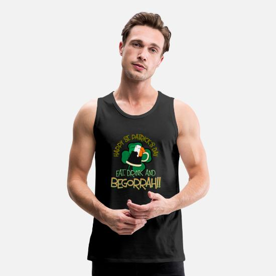 Boston Tank Tops - St Patricks Day - Eat, Drink & Begorrah - Men's Premium Tank Top black