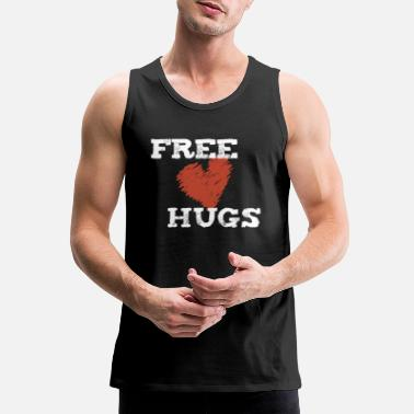 Hug Funny Hug - Free Hugs Heart - Embrace Welcome - Men's Premium Tank