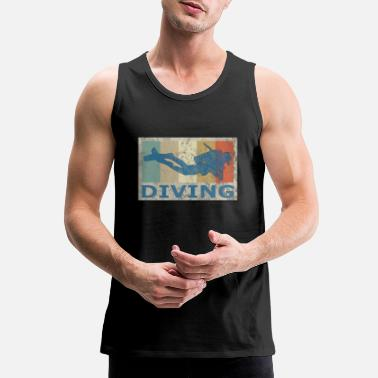 Retro Vintage Style Diving Diver Scuba Snorkeling - Men's Premium Tank Top