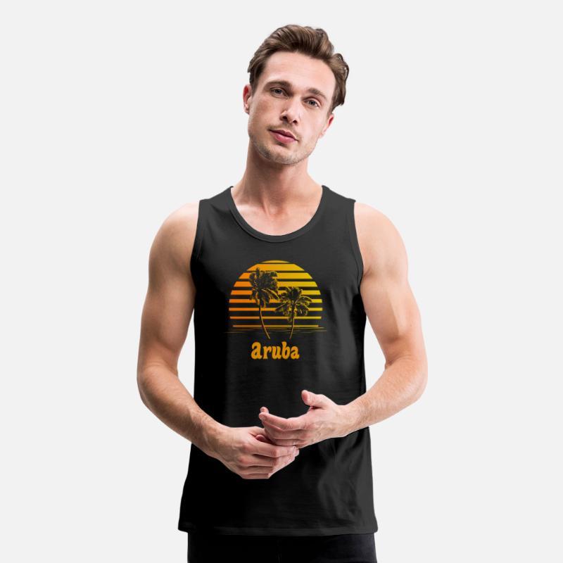 e1c027c5cdc8ca Men s Premium Tank TopAruba Sunset Palm Trees. Awesome Shirts